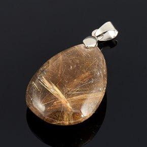 Кулон рутиловый кварц Бразилия капля 3,5-4,5 см (биж. сплав)