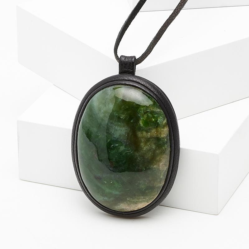 Подвеска нефрит зеленый овал (натуральная кожа) подвеска амазонит овал натуральная кожа