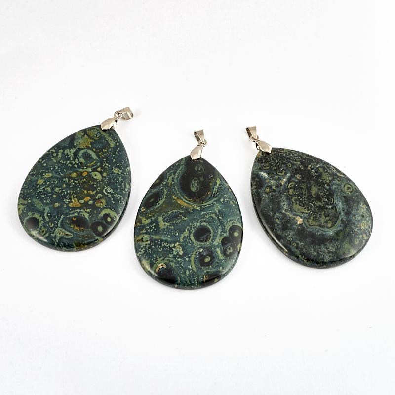 Кулон яшма зеленая капля (биж. сплав) 6,5-7 см