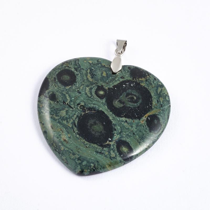 Кулон яшма зеленая сердечко (биж. сплав) 5,5-6 см кулон нефрит зеленый биж сплав 6 5 см