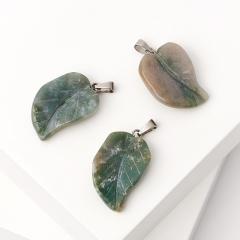Кулон агат моховой Индия лист (биж. сплав) 3 см