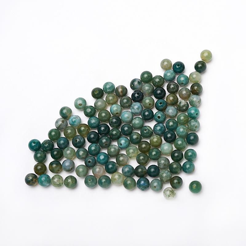 Бусина агат моховой зеленый шарик 6-6,5 мм (1 шт) кабошон агат моховой 21 35 мм