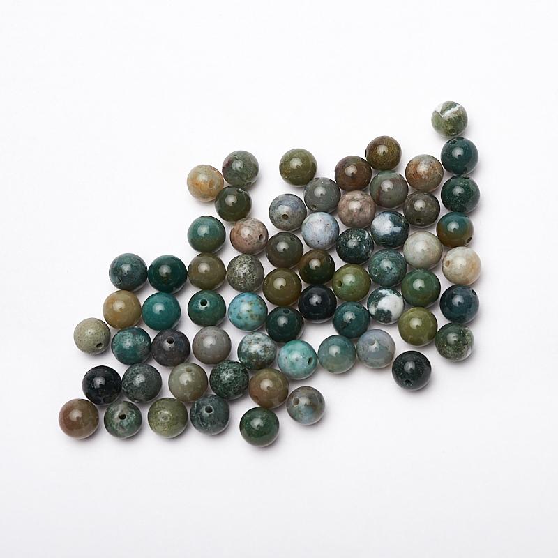 Бусина агат моховой зеленый шарик 8 мм (1 шт) массажер дельтатерм шарик ежик цвет зеленый диаметр 75 мм