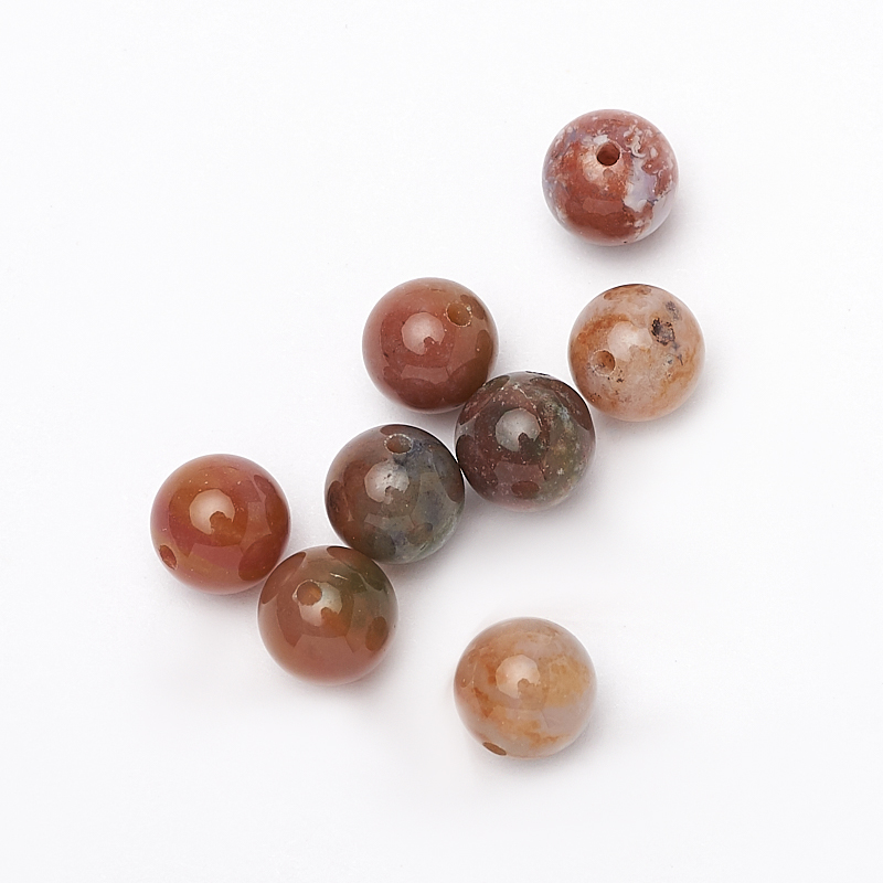 Бусина агат моховой шарик 8-8,5 мм (1 шт)
