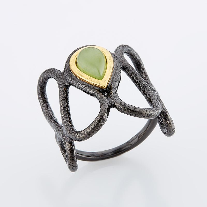 Кольцо нефрит зеленый (серебро 925 пр., позолота) размер 18 браслет нефрит зеленый 18 см серебро 925 пр