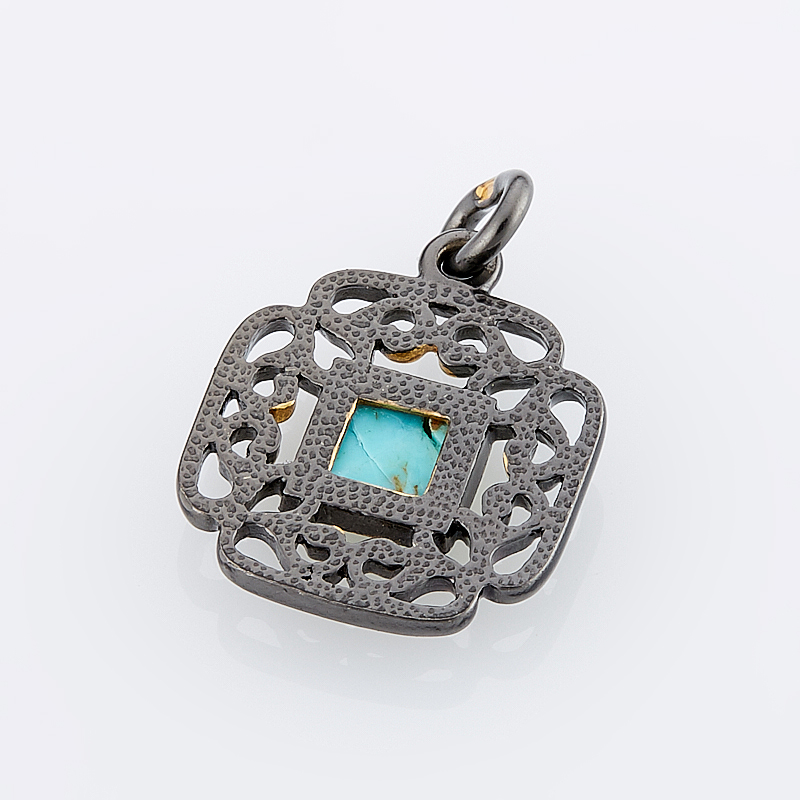 Кулон бирюза Тибет квадрат (серебро 925 пр., позолота)