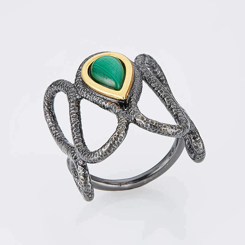 Кольцо малахит  (серебро 925 пр., позолота) размер 16,5