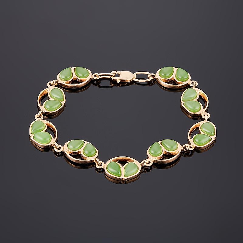 Браслет нефрит зеленый 17 см (серебро 925 пр., позолота)