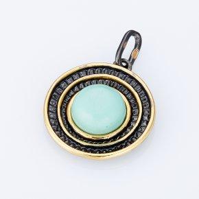 Кулон бирюза Тибет (Китай) круг (серебро 925 пр., позолота)