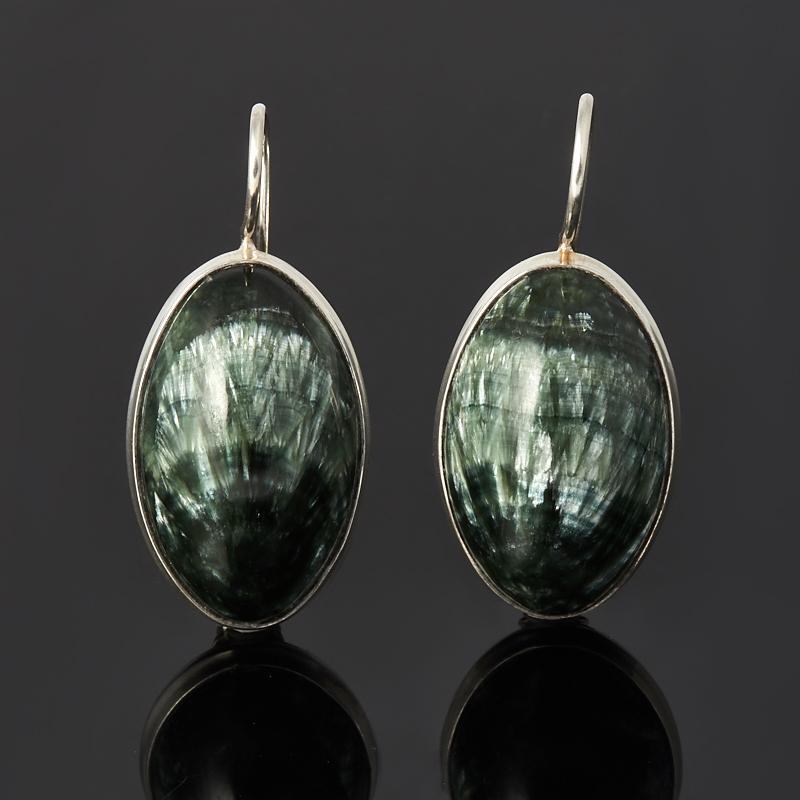 Серьги клинохлор (серафинит) (серебро 925 пр.)