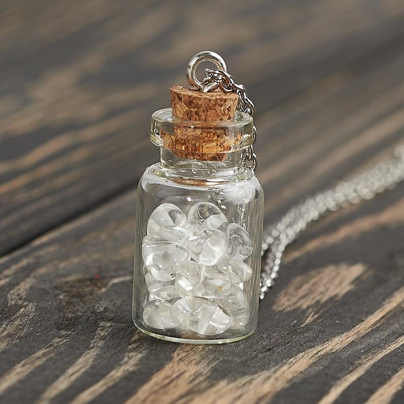 Кулон горный хрусталь Бразилия бутылочка (биж. сплав) 3,5 см