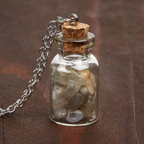 Кулон лабрадор Мадагаскар бутылочка (биж. сплав) 3,5 см