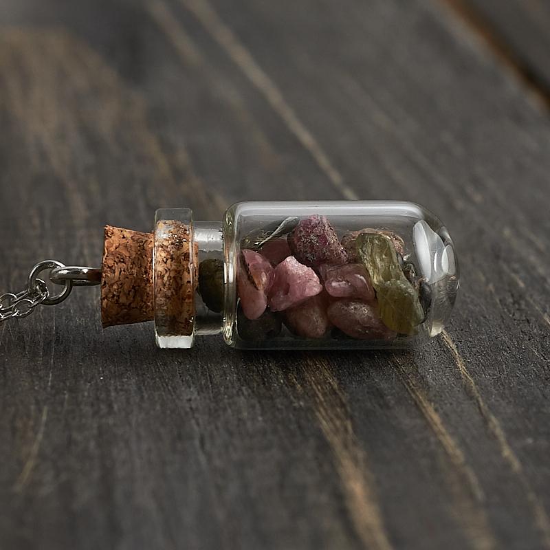 Кулон турмалин  бутылочка (биж. сплав) 3,5 см
