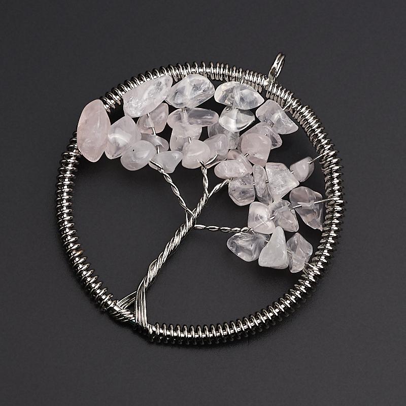 Кулон розовый кварц круг (биж. сплав) 5,5 см