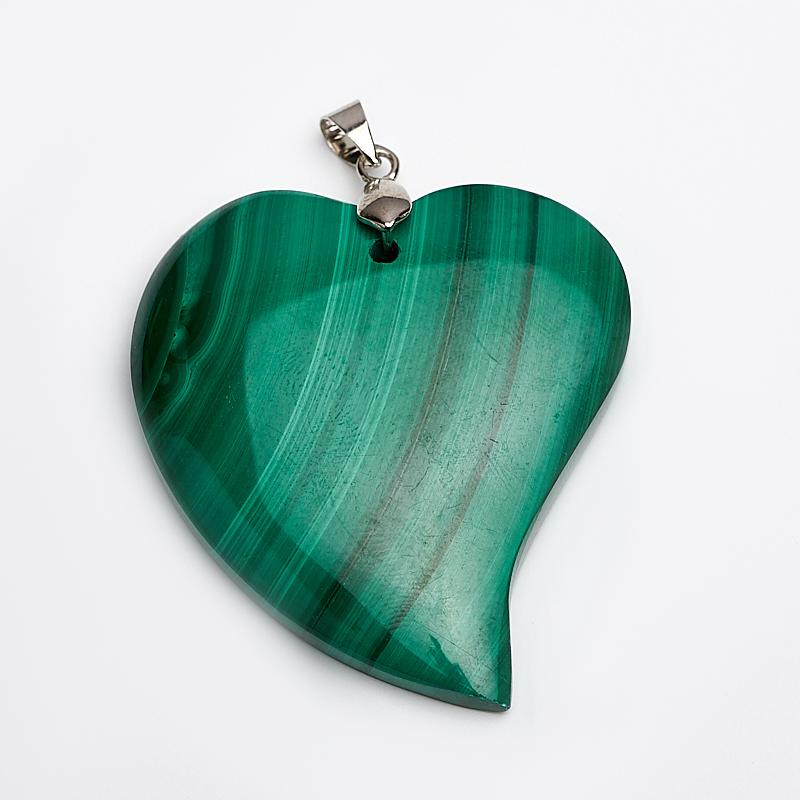 Кулон малахит сердечко (биж. сплав) 6 см