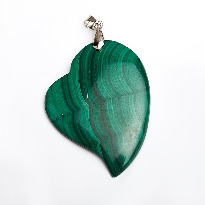 Кулон малахит сердечко (биж. сплав) 6,5-7 см запонки малахит биж сплав