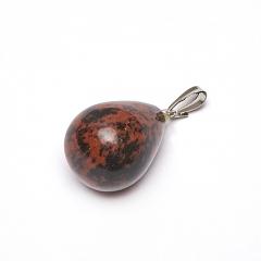 Кулон обсидиан коричневый Армения капля (биж. сплав) 2,5-3 см