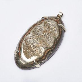 Кулон пирит, окаменелость Россия (нейзильбер) 7 см