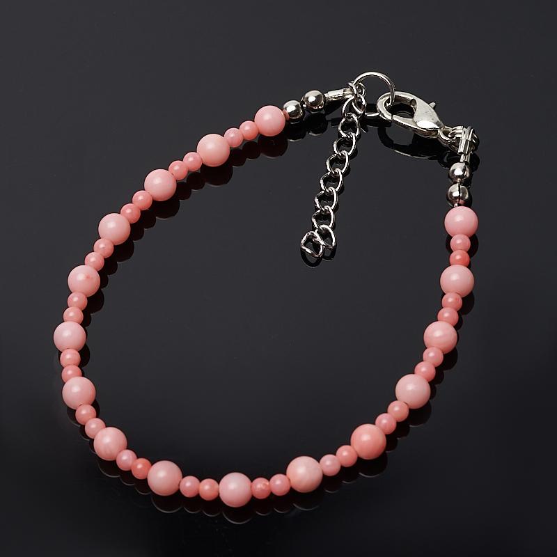 Браслет коралл розовый 16-19 см (биж. сплав) браслет коралл розовый огранка 6 мм 17 20 см биж сплав