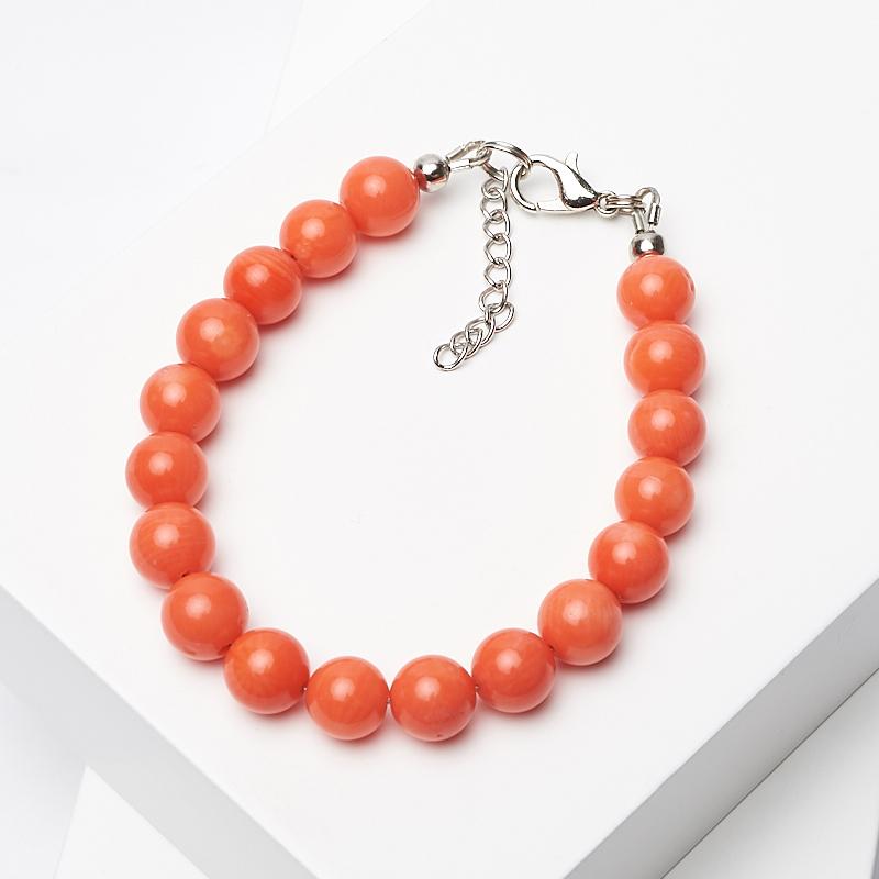 Браслет коралл оранжевый 8 мм 16-19 см (биж. сплав) браслет коралл оранжевый 6 мм 16 19 см биж сплав