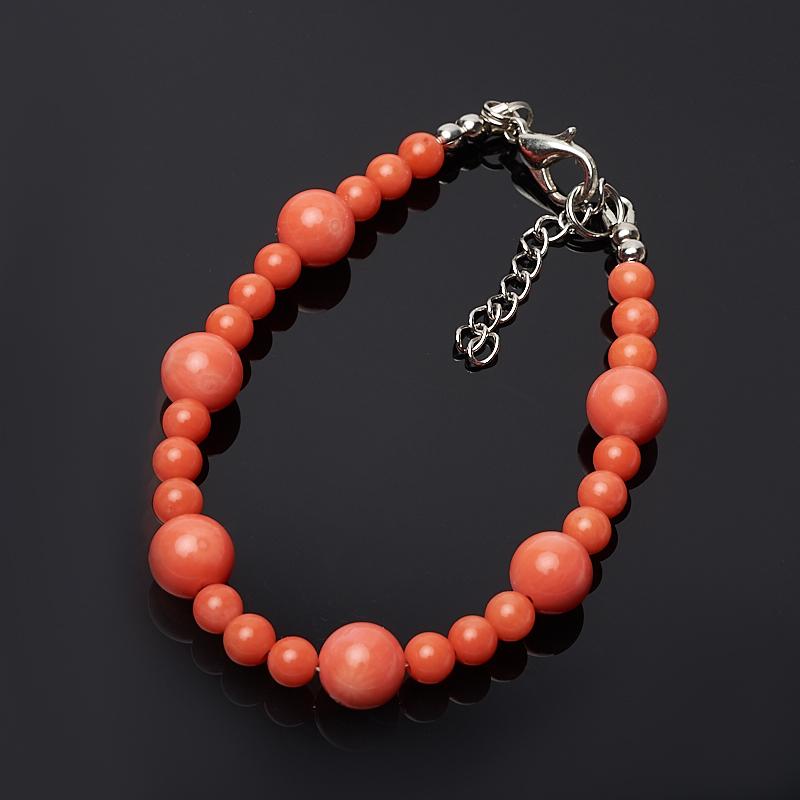 Браслет коралл оранжевый 16-19 см (биж. сплав) браслет жемчуг белый 6 7 мм 16 см биж сплав