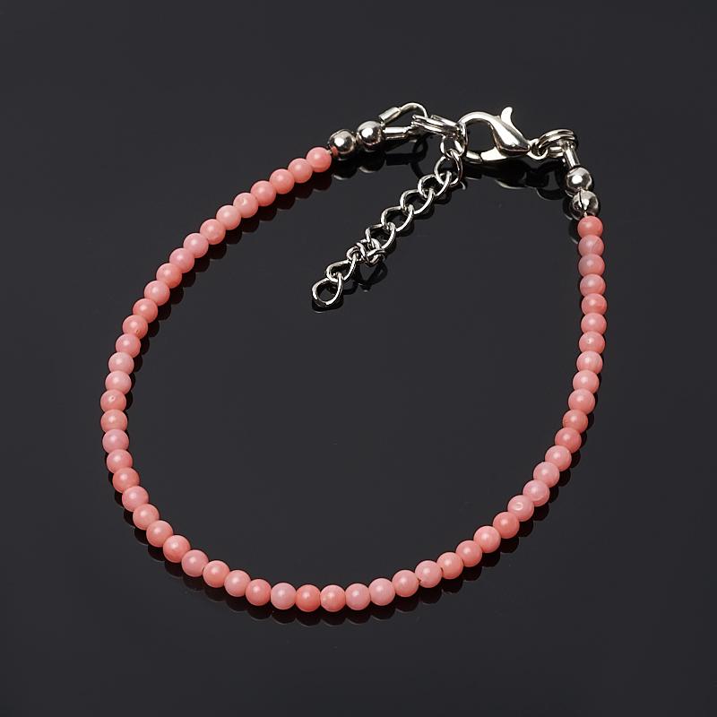 Браслет коралл розовый 3 мм 16-19 см (биж. сплав) браслет коралл красный розовый 4 мм 16 19 см биж сплав