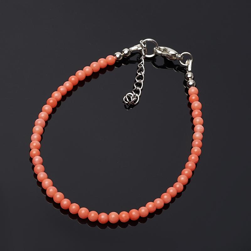 Браслет коралл оранжевый 3 мм 16-19 см (биж. сплав) бусина коралл оранжевый шайба 2 4 мм 1 шт