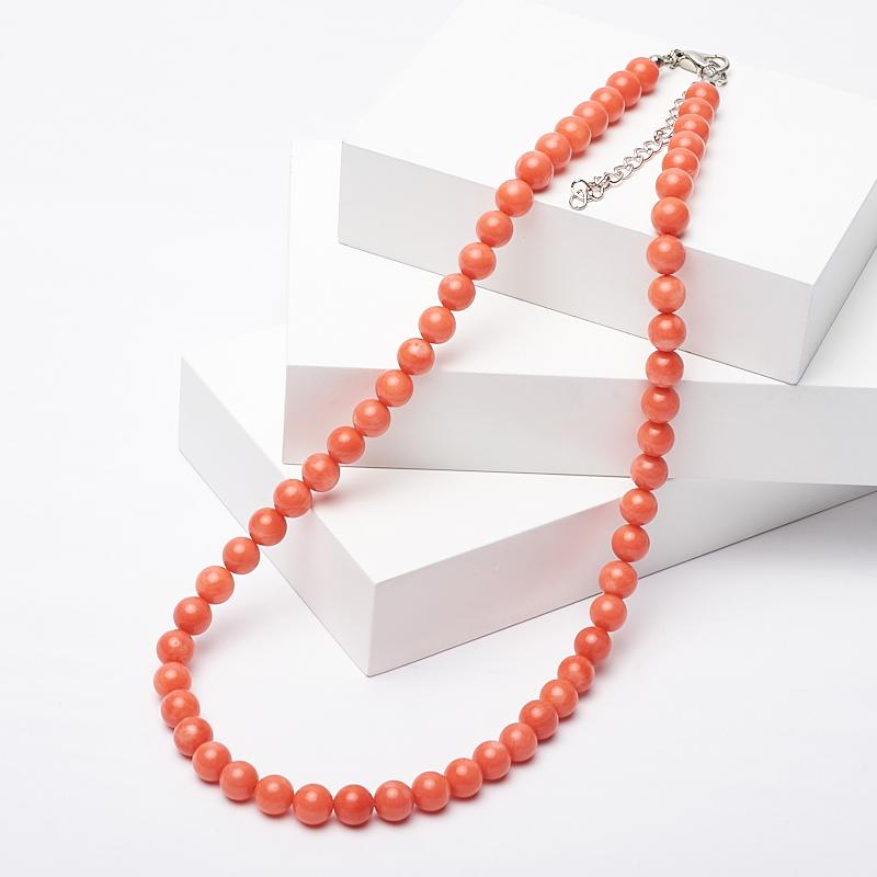 Бусы коралл оранжевый 7 мм 46-51 см (биж. сплав)
