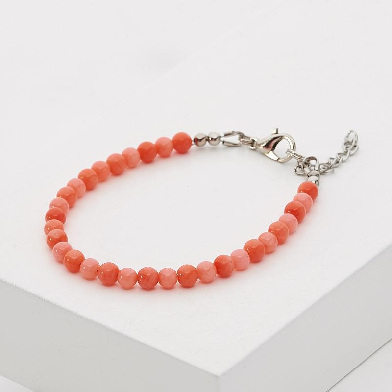 Браслет коралл оранжевый, розовый 4 мм 16-19 см (биж. сплав)