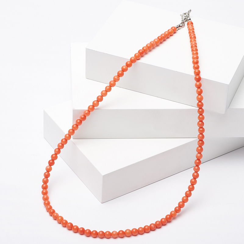 Бусы коралл оранжевый 4 мм 46-51 см (биж. сплав) бусы коралл розовый 46 51 см биж сплав