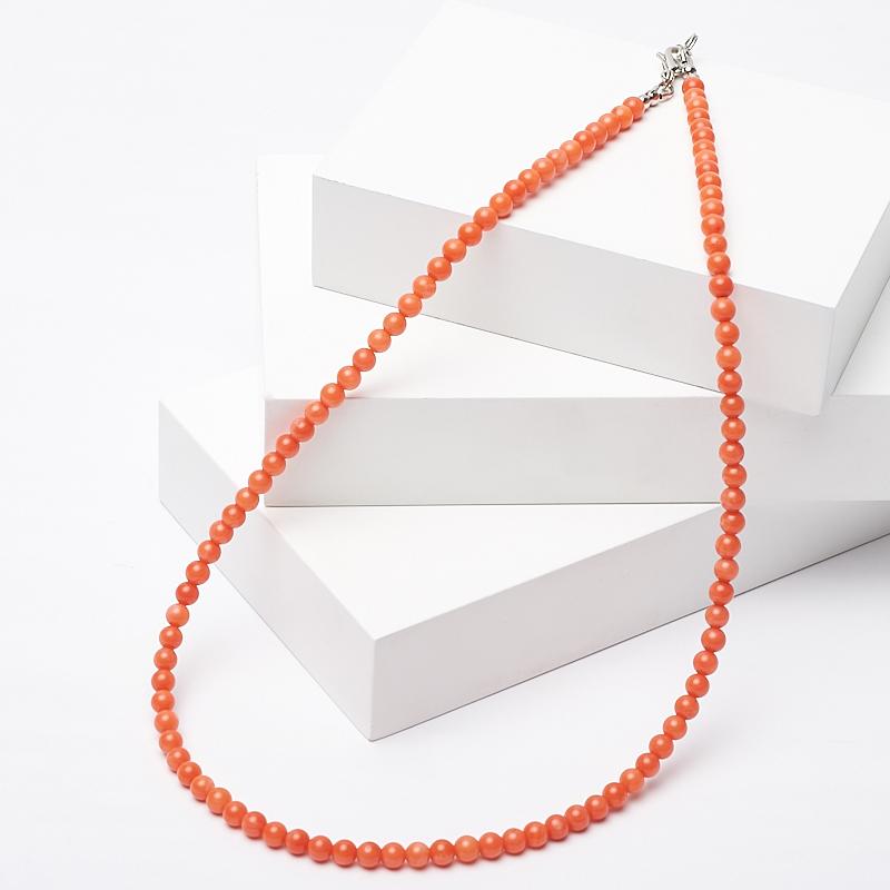 Бусы коралл оранжевый 4 мм 46-51 см (биж. сплав)