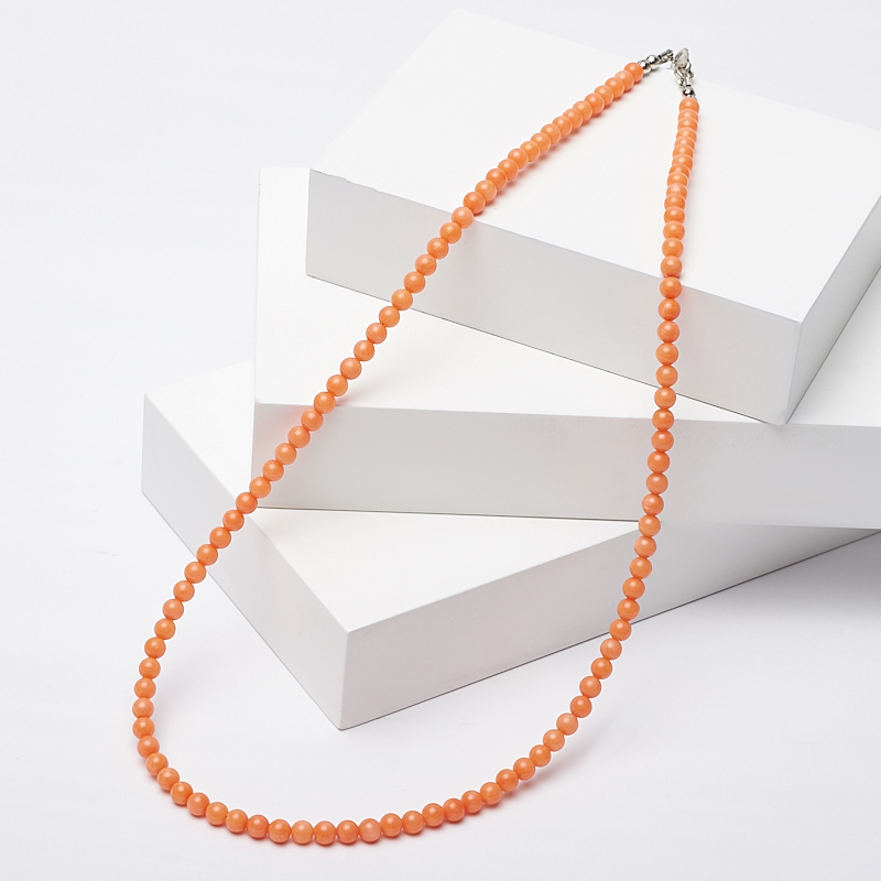 Бусы коралл оранжевый 4 мм 46-51 см (биж. сплав) авторские бусы кахолонг прес коралл хрусталь лима