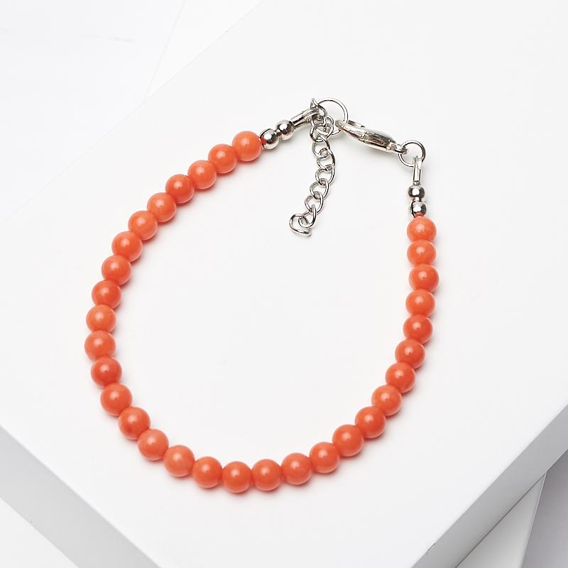 Браслет коралл оранжевый 4 мм 17-20 см (биж. сплав) браслет жемчуг белый 6 7 мм 16 см биж сплав