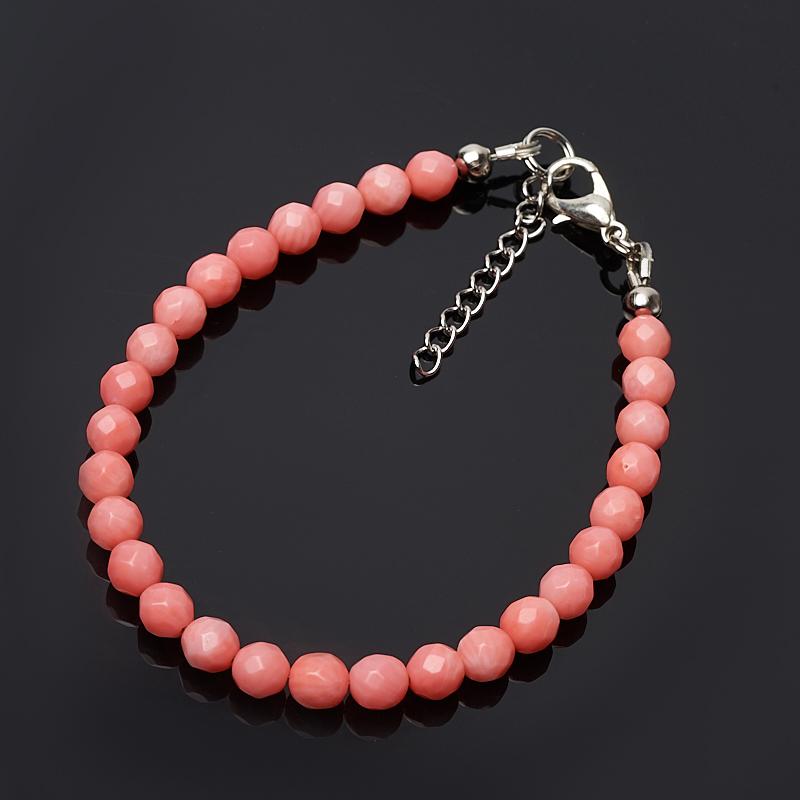 Браслет коралл розовый 5 мм 16-19 см (биж. сплав) браслет коралл красный розовый 4 мм 16 19 см биж сплав