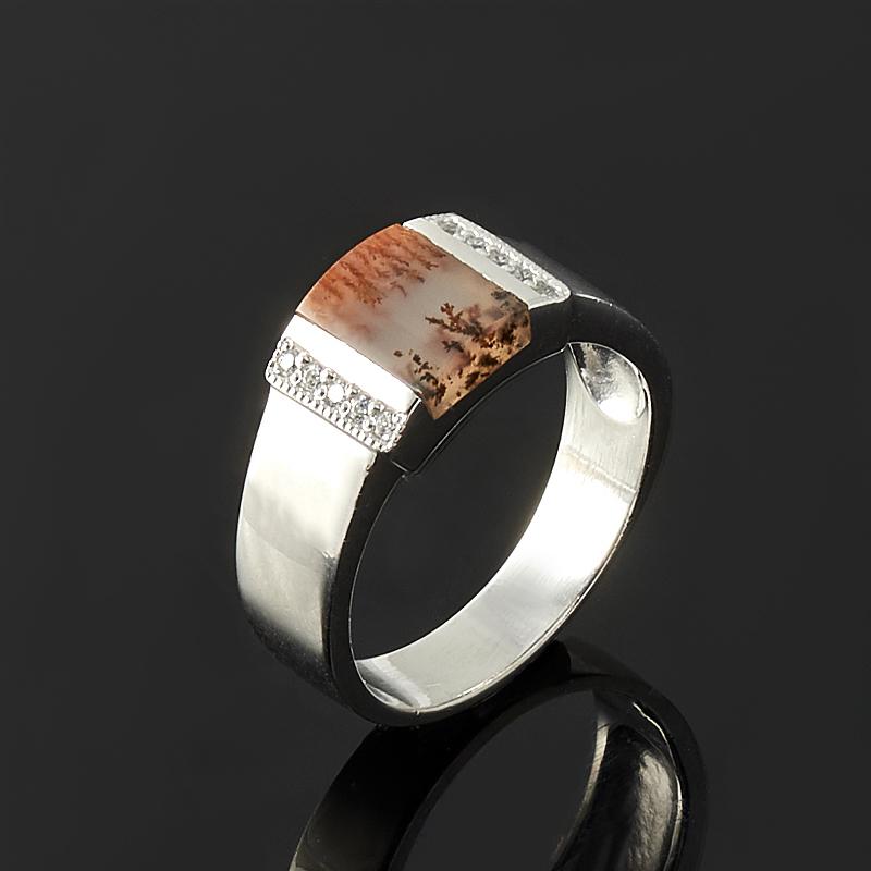 Кольцо агат пейзажный (серебро 925 пр.) размер 17,5 серьги агат серый серебро 925 пр