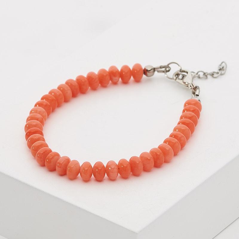 Браслет коралл оранжевый 6 мм 17-20 см (биж. сплав) цена