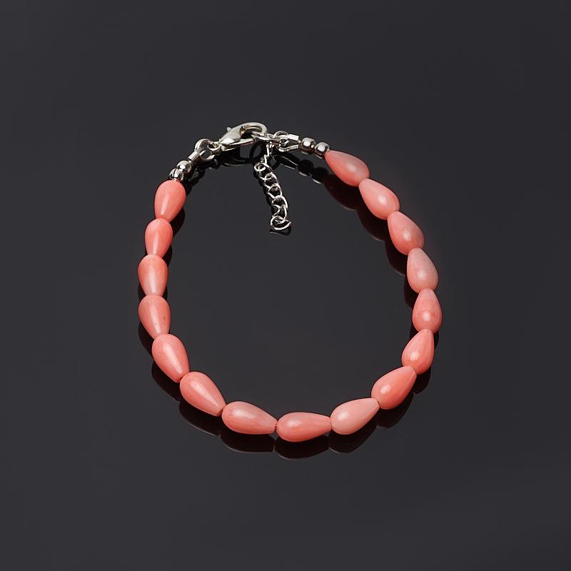 Браслет коралл розовый 16-19 см (биж. сплав) браслет жемчуг белый 6 7 мм 16 см биж сплав