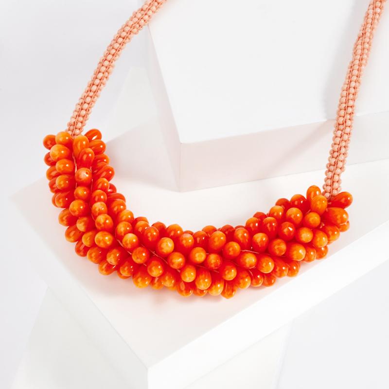 Бусы коралл оранжевый (колье) 43 см (биж. сплав)