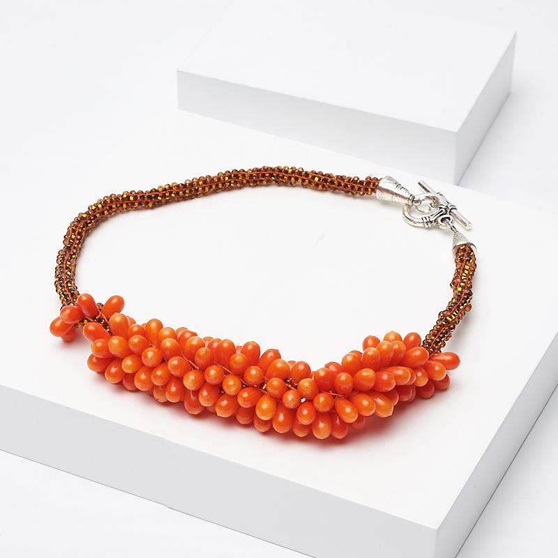 Бусы коралл оранжевый (колье) 41 см (биж. сплав)