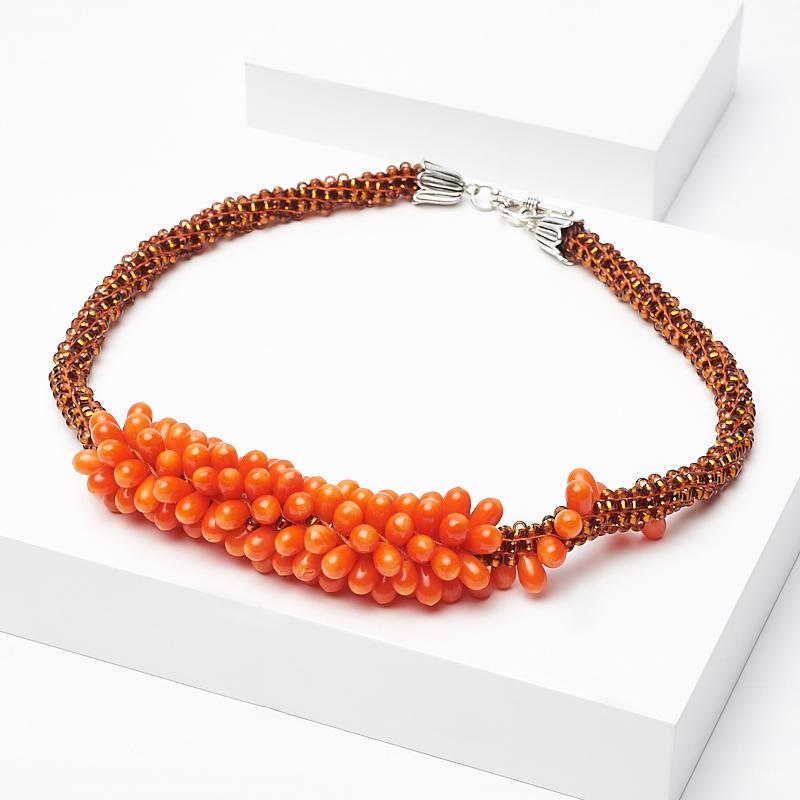 Бусы коралл оранжевый (колье) 43 см (биж. сплав) бусы коралл классика 8