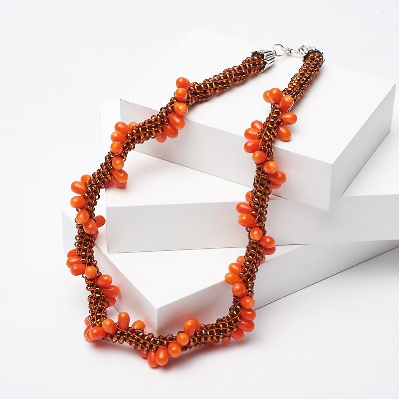 Бусы коралл оранжевый (колье) 44 см (биж. сплав) авторские бусы кахолонг прес коралл хрусталь лима