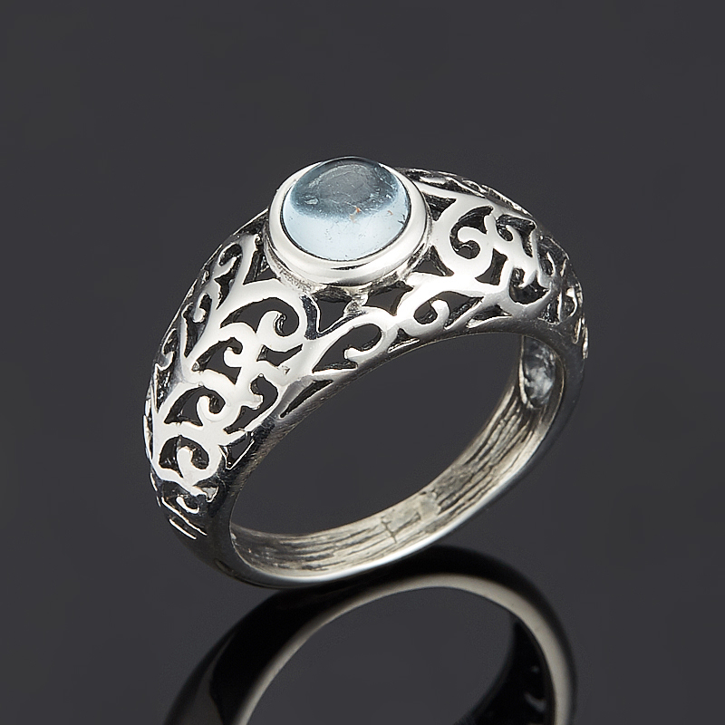 Кольцо топаз голубой (серебро 925 пр.) размер 17