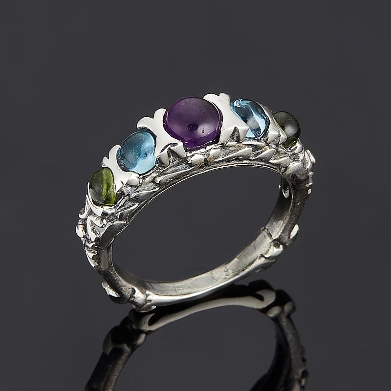 Кольцо микс аметист топаз хризолит (серебро 925 пр.) размер 17 кольцо микс топаз хризолит огранка серебро 925 пр размер 19