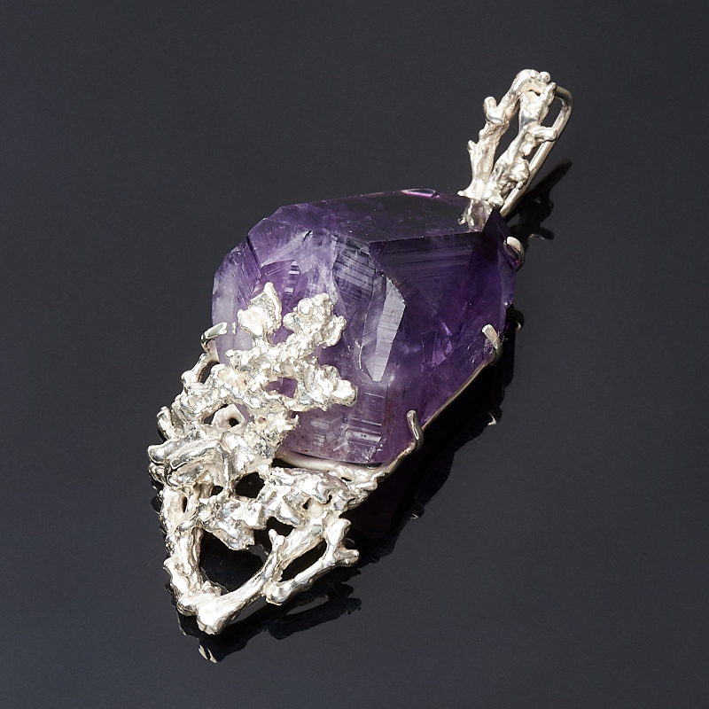 Кулон аметист Бразилия кристалл (серебро 925 пр.)