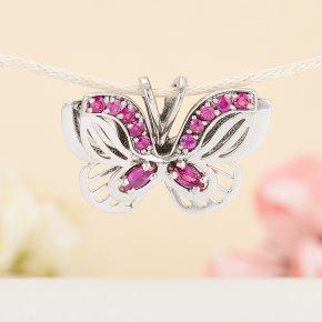 Кулон рубин Мьянма бабочка огранка (серебро 925 пр.)