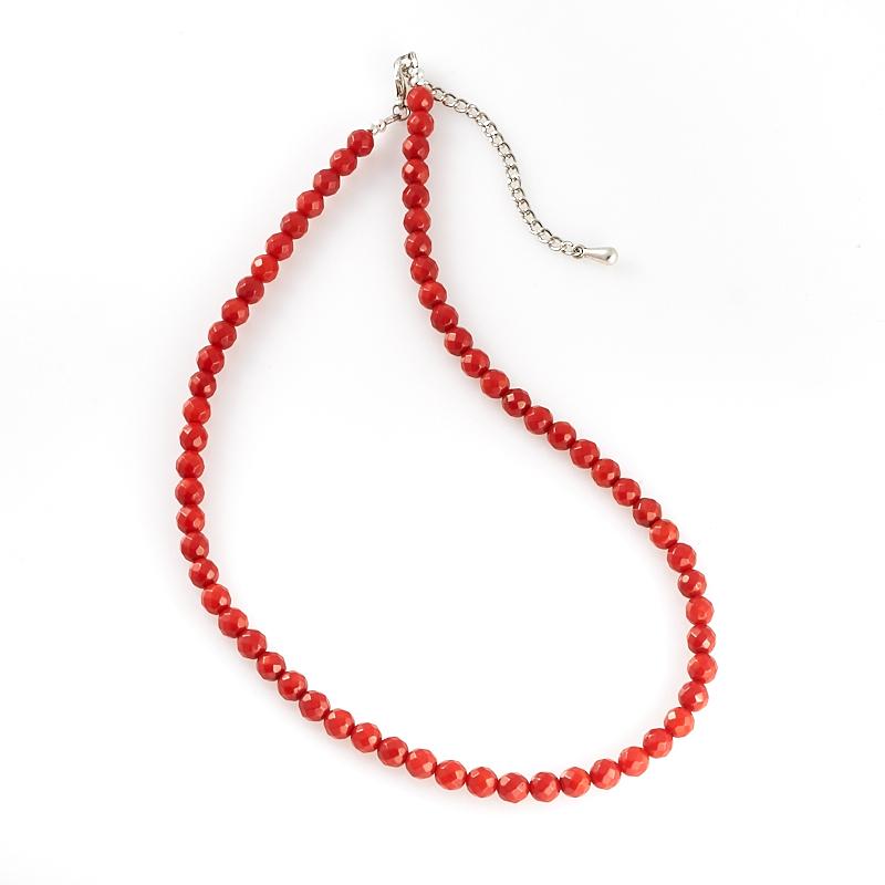 Бусы коралл красный огранка 6 мм 46-53 см (биж. сплав) бусы коралл красный белый 55 64 см