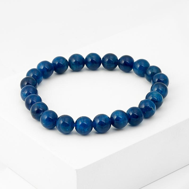 Браслет апатит синий 8 мм 16 см бусы апатит голубой 45 см