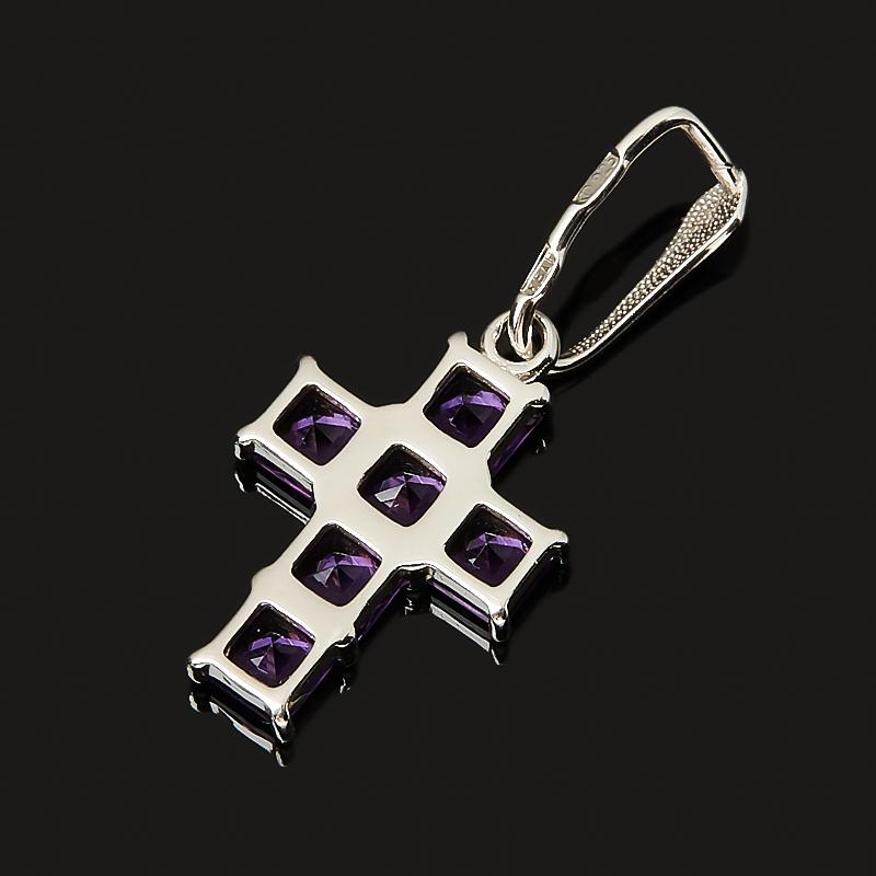Кулон аметист Бразилия крест огранка (серебро 925 пр.)