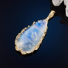Кулон лунный камень Индия (золото 585 пр.)