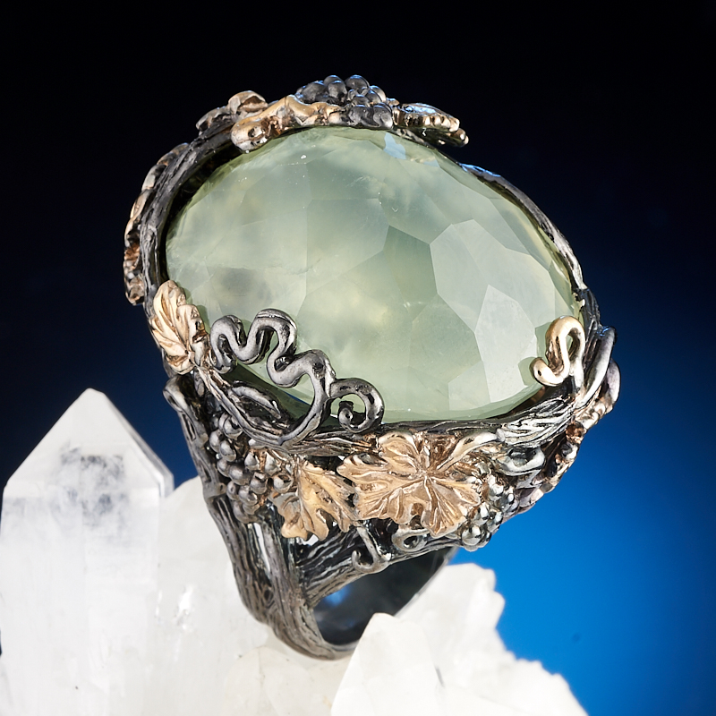 Кольцо празиолит  огранка (серебро 925 пр., позолота) размер 18